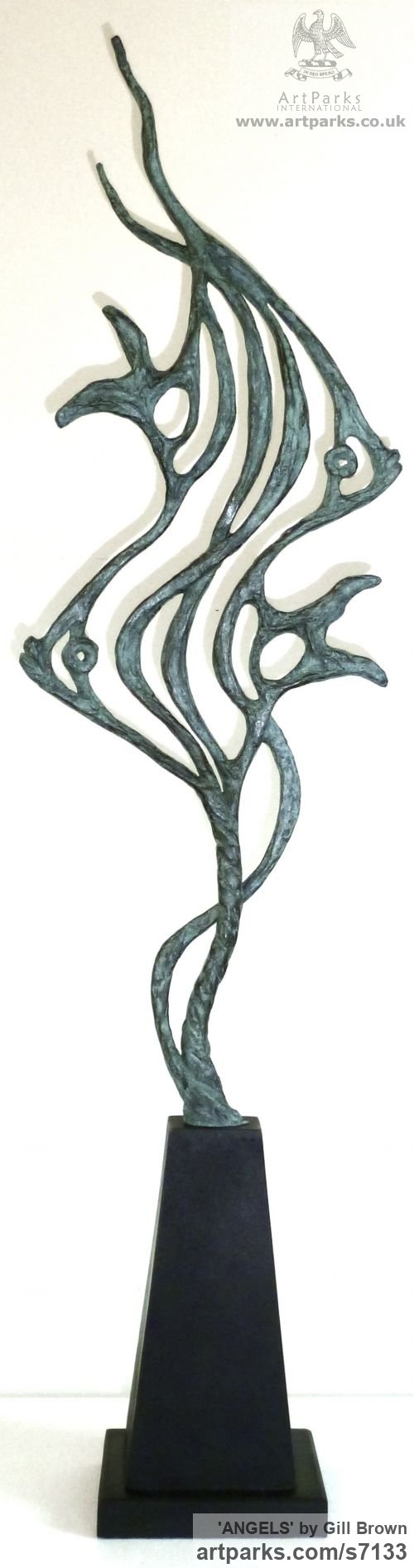 BRONZE Animal Abstract Contemporary Modern Stylised Minimalist sculpture by sculptor Gill Brown titled: 'ANGELS (Semi abstract Contemporary Angel Fish Indoor/Outdoor statuette)' - Artwork View 2