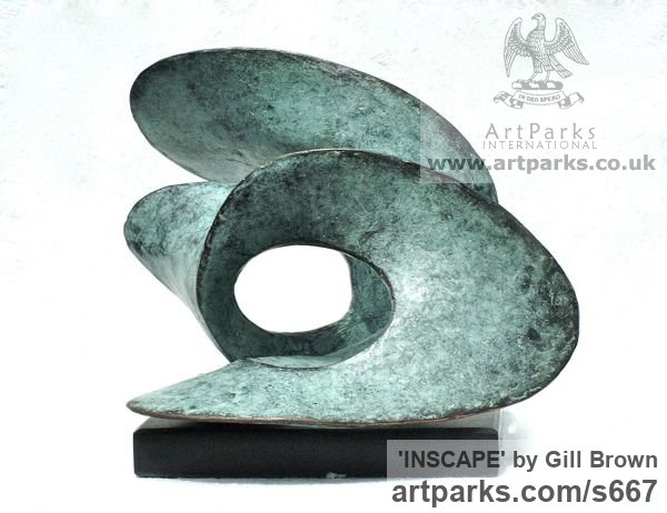 Bronze Sign of the Zodiac sculpture by sculptor Gill Brown titled: 'Inscape (Bronze Little abstract Wavelike Surf statues)'