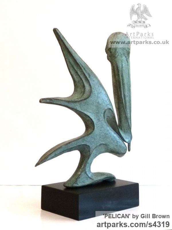 Bronze Animal Abstract Contemporary Modern Stylised Minimalist sculpture by sculptor Gill Brown titled: 'Pelican (Bronze abstract Contemporary water Bird statue)' - Artwork View 2