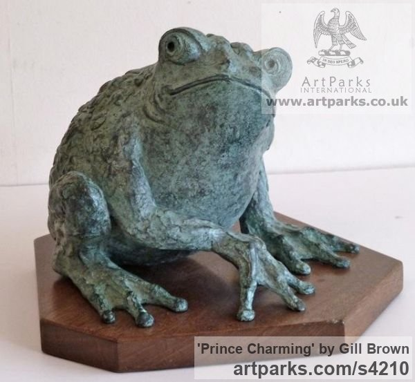BRONZE Tabletop Desktop Small Indoor Statuettes Figurines sculpture by sculptor Gill Brown titled: 'Prince Charming (Fun Bronze Big Frog sculpture)'