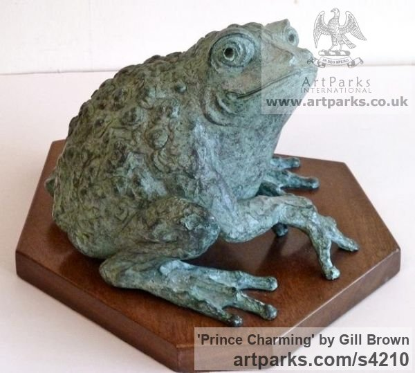 BRONZE Tabletop Desktop Small Indoor Statuettes Figurines sculpture by sculptor Gill Brown titled: 'Prince Charming (Fun Bronze Big Frog sculpture)' - Artwork View 2
