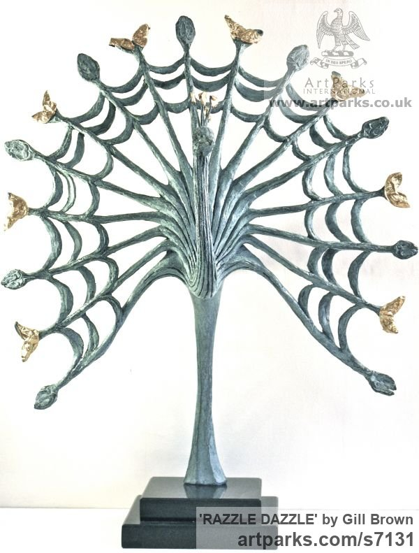 BRONZE Ornamental Birds sculpture or sculpture by sculptor Gill Brown titled: 'RAZZLE DAZZLE (Contemporary abstract Peacock sculpture)' - Artwork View 2