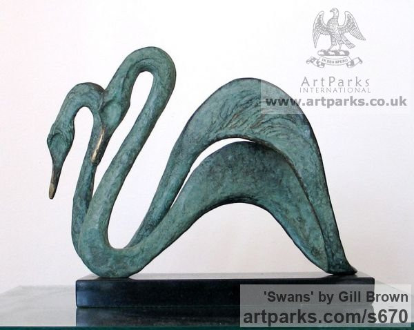Bronze Varietal Mix of Bird Sculptures or sculpture by sculptor Gill Brown titled: 'Swans (Swimming Bronze Semi abstract Pair sculptures/statuettes)'