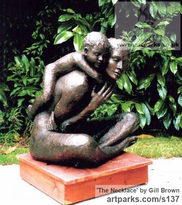 Bronze Garden Or Yard / Outside and Outdoor sculpture by artist Gill Brown titled: 'The Necklace (bronze Lifesize Mother and Child/Infant/Toddler Love statue)'