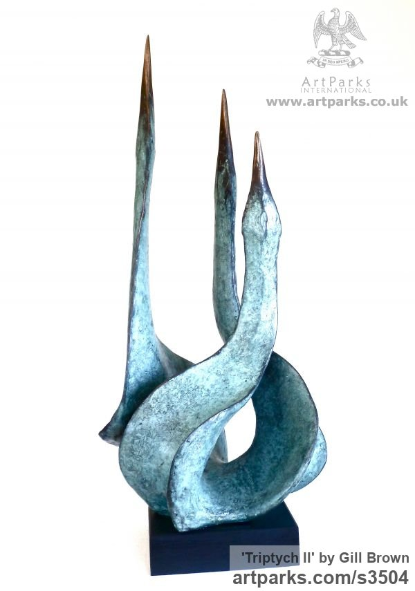 Bronze Varietal Mix of Bird Sculptures or sculpture by sculptor Gill Brown titled: 'Triptych II (small/little Bronze birds tabletop Art statue/statuette)'