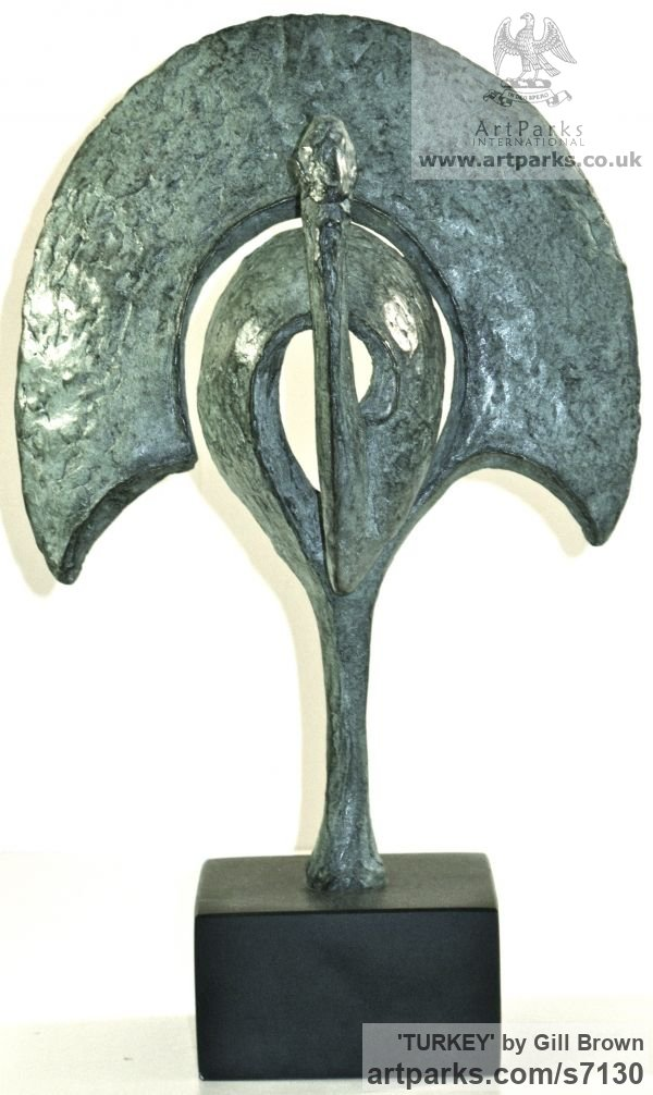 BRONZE Varietal Mix of Bird Sculptures or sculpture by sculptor Gill Brown titled: 'TURKEY (bronze Stylised Poultry Contemporary abstract Modern statuette)' - Artwork View 1