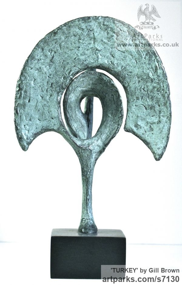 BRONZE Varietal Mix of Bird Sculptures or sculpture by sculptor Gill Brown titled: 'TURKEY (bronze Stylised Poultry Contemporary abstract Modern statuette)' - Artwork View 3
