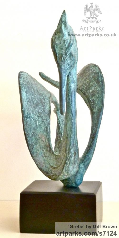 BRONZE Varietal Mix of Bird Sculptures or sculpture by sculptor Gill Brown titled: 'VARIATIONS (Bronze abstract Contemporary Stylised Grebe statue)' - Artwork View 3