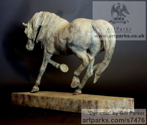 Bronze Horse Sculpture / Equines Race Horses Pack HorseCart Horses Plough Horsess sculpture by sculptor Gill Parker titled: 'Dynamic (Small Trotting Indoor Horse sculpturette)' - Artwork View 5