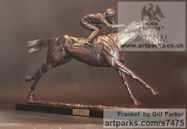 Bronze Horse Sculpture / Equines Race Horses Pack HorseCart Horses Plough Horsess sculpture by sculptor Gill Parker titled: 'Frankel (Little Small Galloping Racehorse and Jockey sculpturette)' - Artwork View 2