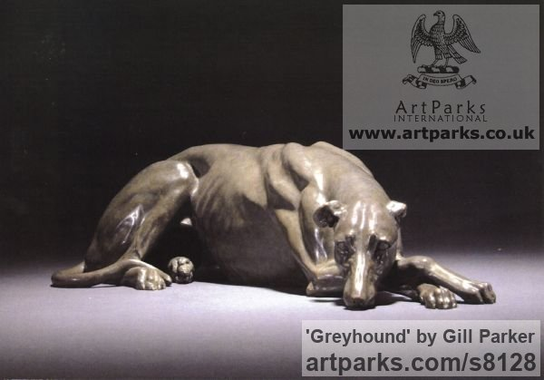Bronze Garden Or Yard / Outside and Outdoor sculpture by sculptor Gill Parker titled: 'Greyhound (life size Bronze Lying Resting Sleeping sculpture)' - Artwork View 1