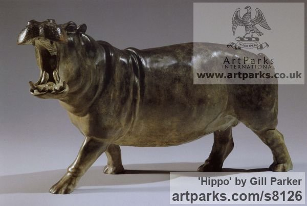 Bronze Wild Animals and Wild Life sculpture by sculptor Gill Parker titled: 'Hippo (bronze GapingBellowing Small Hippo sculpturette sculpture)'