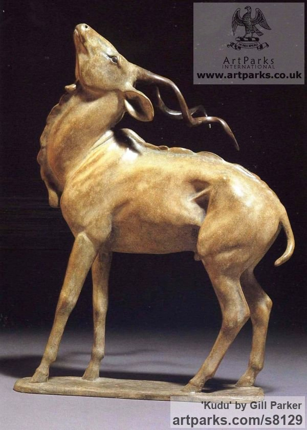 Bronze Wild Animals and Wild Life sculpture by sculptor Gill Parker titled: 'Kudu (Bronze Small African Antelope Standing sculpturette sculpture)'
