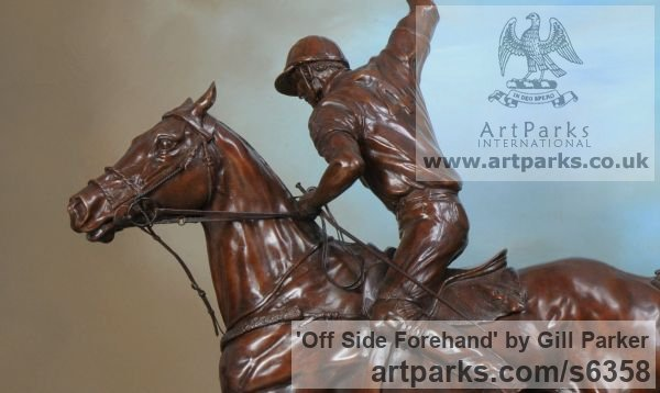 Bronze Horse Sculpture / Equines Race Horses Pack HorseCart Horses Plough Horsess sculpture by sculptor Gill Parker titled: 'Off side Forehand (Bronze Polo Player and Pony statue/sculpture/figurine)'