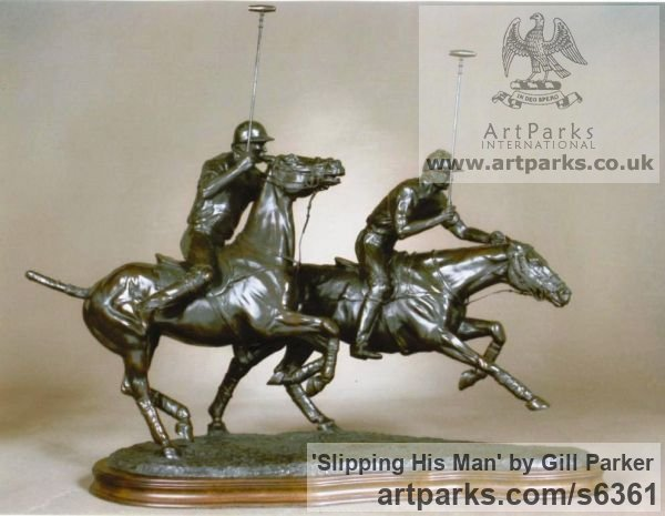 Bronze Horse Sculpture / Equines Race Horses Pack HorseCart Horses Plough Horsess sculpture by sculptor Gill Parker titled: 'Slipping His Man (Little Bronze Polo Players statuette)' - Artwork View 2