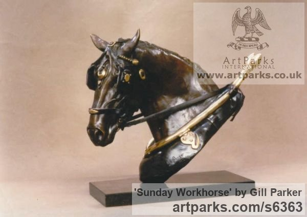 Bronze Horse Sculpture / Equines Race Horses Pack HorseCart Horses Plough Horsess sculpture by sculptor Gill Parker titled: 'Sunday Workhorse (Head/Bust Cart Horse statuette/statue/sculpture)'