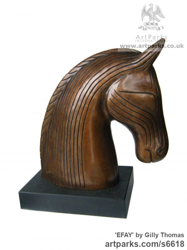 Bronze Horse Sculpture / Equines Race Horses Pack HorseCart Horses Plough Horsess sculpture by sculptor Gilly Thomas titled: 'Efay (Bronze Stylised contemporary horse Head Bust statuette/sculpture)'