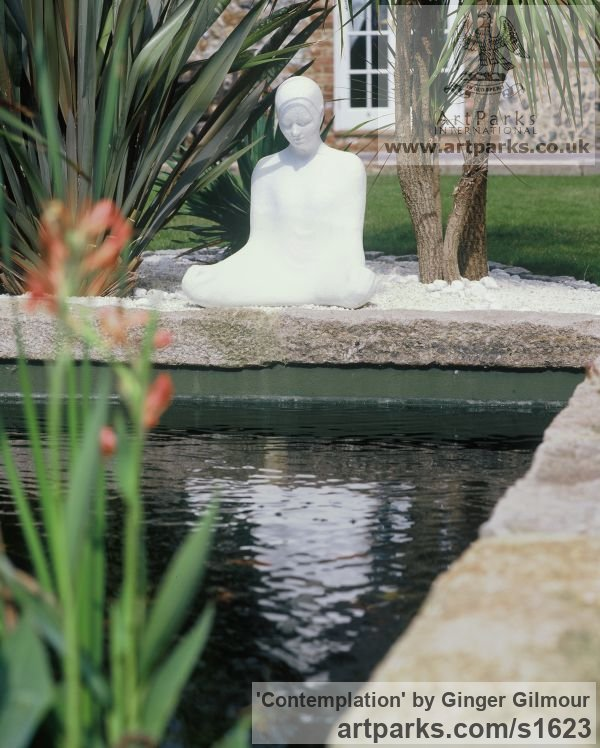 Resin & Marble dust Meditation sculpture / Statues / statuettes / figurines sculpture by sculptor Ginger Gilmour titled: 'Contemplation (Beautiful Modern Minimalist Seated Buddha statues)' - Artwork View 2