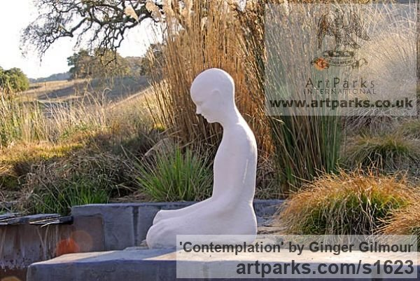 Resin & Marble dust Meditation sculpture / Statues / statuettes / figurines sculpture by sculptor Ginger Gilmour titled: 'Contemplation (Beautiful Modern Minimalist Seated Buddha statues)' - Artwork View 3