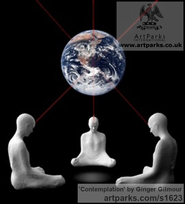 Resin & Marble dust Meditation sculpture / Statues / statuettes / figurines sculpture by sculptor Ginger Gilmour titled: 'Contemplation (Beautiful Modern Minimalist Seated Buddha statues)' - Artwork View 4