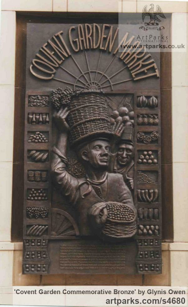 Bronze Wall Mounted or Wall Hanging sculpture by sculptor Glynis Owen titled: 'Covent garden Commemorative Bronze (Wall plaques sculpture)' - Artwork View 2