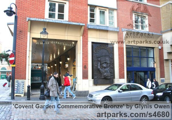 Bronze Wall Mounted or Wall Hanging sculpture by sculptor Glynis Owen titled: 'Covent garden Commemorative Bronze (Wall plaques sculpture)' - Artwork View 3