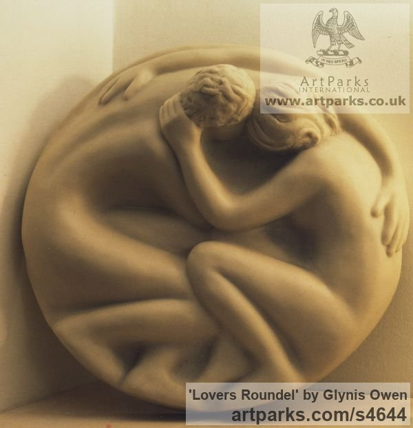 Marble cast resin Wall Mounted or Wall Hanging sculpture by sculptor Glynis Owen titled: 'Lovers Roundel (Circular Bas Relief marble resin Plaques)'