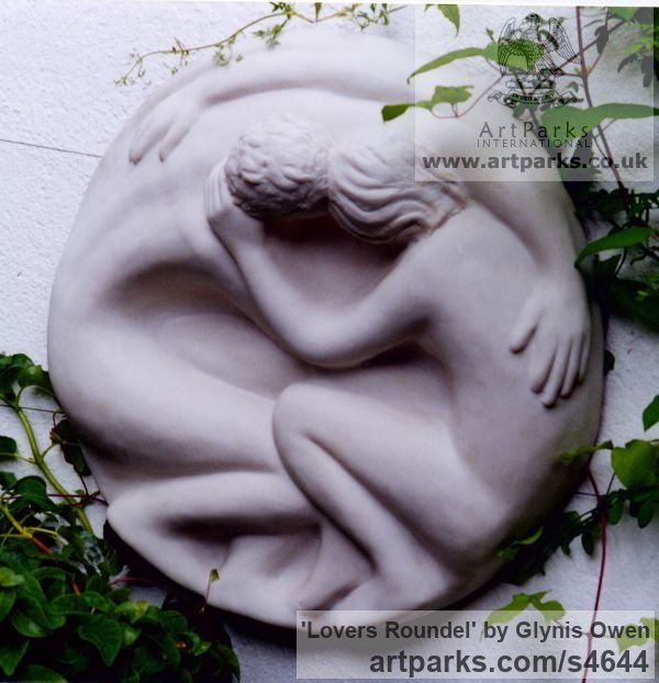 Marble cast resin Wall Mounted or Wall Hanging sculpture by sculptor Glynis Owen titled: 'Lovers Roundel (Circular Bas Relief marble resin Plaques)' - Artwork View 2