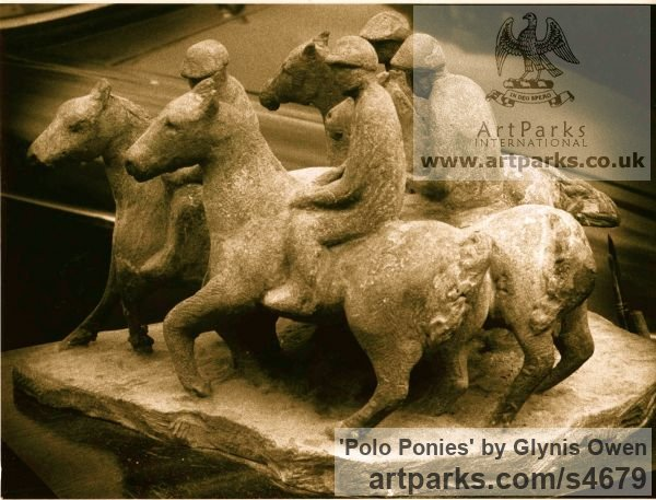 Cast stone Horse Sculpture / Equines Race Horses Pack HorseCart Horses Plough Horsess sculpture by sculptor Glynis Owen titled: 'Polo Ponies (Cast stone Contemporary Modern sculptures)'