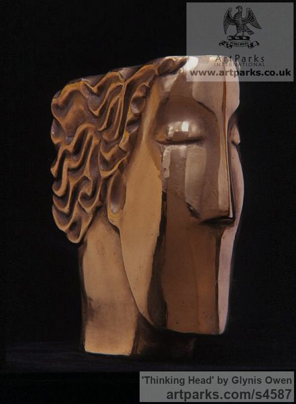 Bronze Arte Deco style Abstract Stylised Contemporary Modern sculpture by sculptor Glynis Owen titled: 'Thinking Head (Modern abstract Arte Deco female Head Bust)'