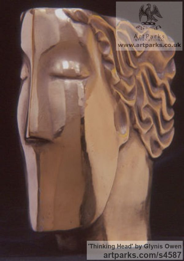 Bronze Arte Deco style Abstract Stylised Contemporary Modern sculpture by sculptor Glynis Owen titled: 'Thinking Head (Modern abstract Arte Deco female Head Bust)' - Artwork View 2