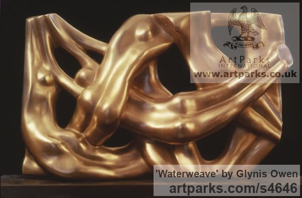 Bronze Tabletop Desktop Small Indoor Statuettes Figurines sculpture by sculptor Glynis Owen titled: 'Waterweave (Gold Coloured Bronze nude Swimmers Wall Plaques statues)'