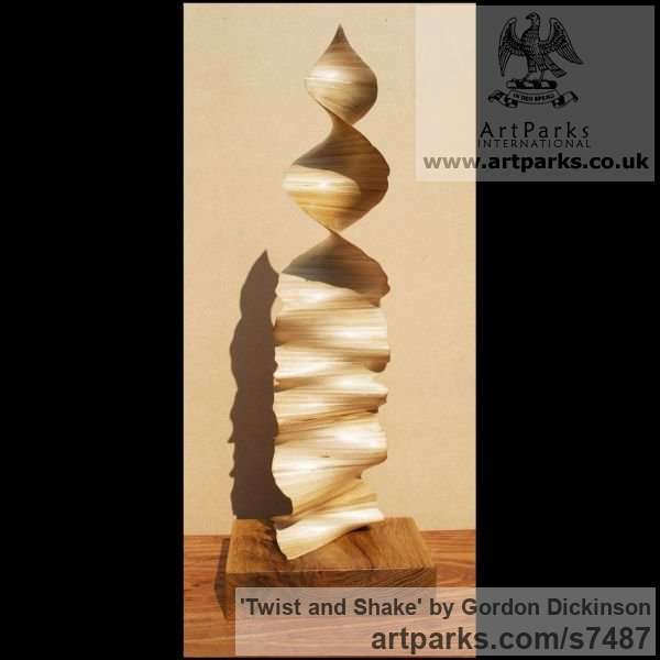 Wood Tabletop Desktop Small Indoor Statuettes Figurines sculpture by sculptor Gordon Dickinson titled: 'Twist and Shake (Delicately Carved Wood Swirling Spiral abstract statue)'