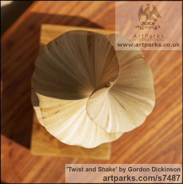 Wood Tabletop Desktop Small Indoor Statuettes Figurines sculpture by sculptor Gordon Dickinson titled: 'Twist and Shake (Delicately Carved Wood Swirling Spiral abstract statue)' - Artwork View 2