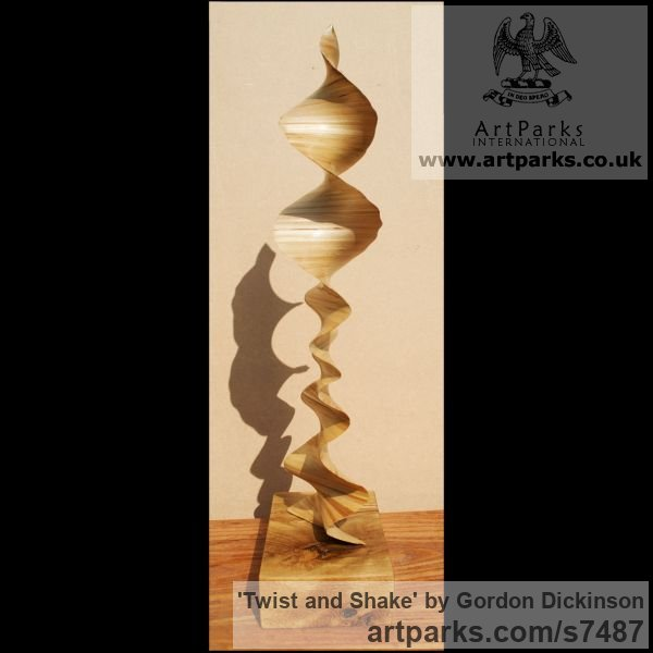 Wood Tabletop Desktop Small Indoor Statuettes Figurines sculpture by sculptor Gordon Dickinson titled: 'Twist and Shake (Delicately Carved Wood Swirling Spiral abstract statue)' - Artwork View 3