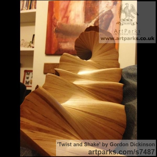 Wood Tabletop Desktop Small Indoor Statuettes Figurines sculpture by sculptor Gordon Dickinson titled: 'Twist and Shake (Delicately Carved Wood Swirling Spiral abstract statue)' - Artwork View 5