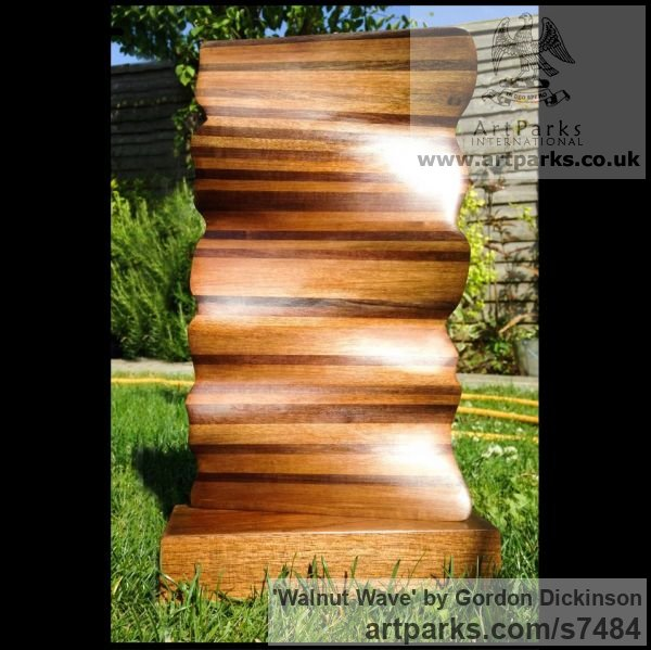 Wood Interior, Indoors, Inside sculpture by sculptor Gordon Dickinson titled: 'Walnut Wave (Carved abstract Contemporary Wooden statuette statue)' - Artwork View 1