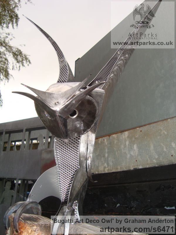 Steel Garden Or Yard / Outside and Outdoor sculpture by sculptor Graham Anderton titled: 'Bugatti Art Deco Owl (Steel Stylised Owl after Bugatti statues)' - Artwork View 5