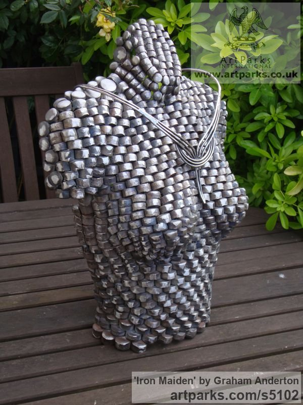 Recycled Steel Pellets Stainless Steel Abstract Contemporary Modern sculpture by sculptor Graham Anderton titled: 'Iron Maiden (Steel nude Semi abstract Modern female Bust statue)' - Artwork View 3