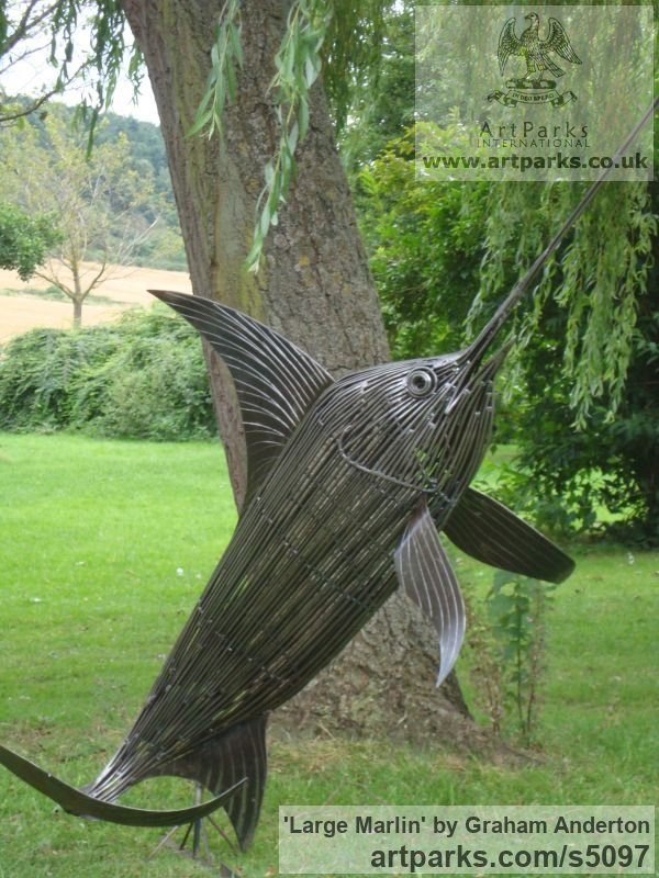 Steel Garden Or Yard / Outside and Outdoor sculpture by sculptor Graham Anderton titled: 'Large Marlin (Big Steel life size Game Fish statue)'