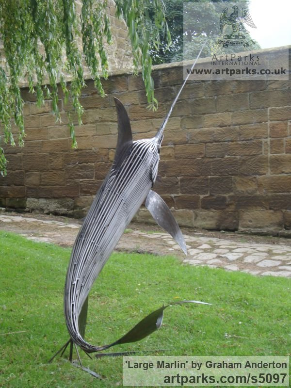 Steel Garden Or Yard / Outside and Outdoor sculpture by sculptor Graham Anderton titled: 'Large Marlin (Big Steel life size Game Fish statue)' - Artwork View 2