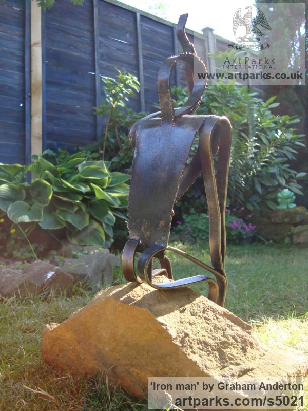 Steel Garden Or Yard / Outside and Outdoor sculpture by sculptor Graham Anderton titled: 'Iron man (abstrac steel Seated garden/Yard statue)' - Artwork View 3