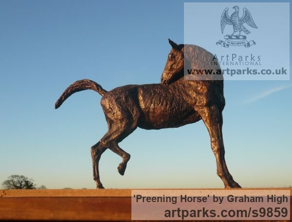 Foundry bronze Horse Sculpture / Equines Race Horses Pack HorseCart Horses Plough Horsess sculpture by sculptor Graham High titled: 'Preening Horse (Small Bronze Scratching Horse statue)'