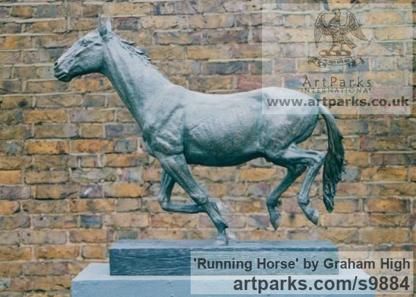 Cold cast bronze Horse Sculpture / Equines Race Horses Pack HorseCart Horses Plough Horsess sculpture by sculptor Graham High titled: 'Running Horse (Small Indoor sculpture for sale)'