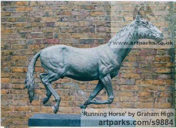 Cold cast bronze Horse Sculpture / Equines Race Horses Pack HorseCart Horses Plough Horsess sculpture by sculptor Graham High titled: 'Running Horse (Small Indoor sculpture for sale)' - Artwork View 2