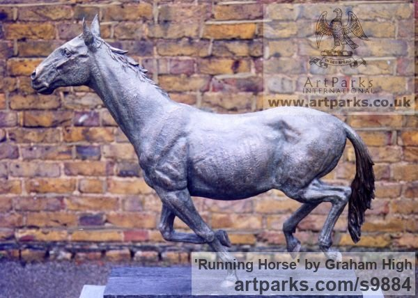 Cold cast bronze Horse Sculpture / Equines Race Horses Pack HorseCart Horses Plough Horsess sculpture by sculptor Graham High titled: 'Running Horse (Small Indoor sculpture for sale)' - Artwork View 5