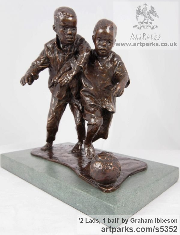 Bronze Children Child Babies Infants Toddlers Kids sculpture statuettes figurines sculpture by sculptor Graham Ibbeson titled: '2 Lads, 1 ball (Boys Playing Football bronze sculpturettes)' - Artwork View 1