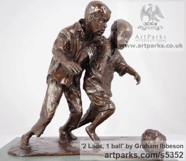 Bronze Children Child Babies Infants Toddlers Kids sculpture statuettes figurines sculpture by sculptor Graham Ibbeson titled: '2 Lads, 1 ball (Boys Playing Football bronze sculpturettes)' - Artwork View 2