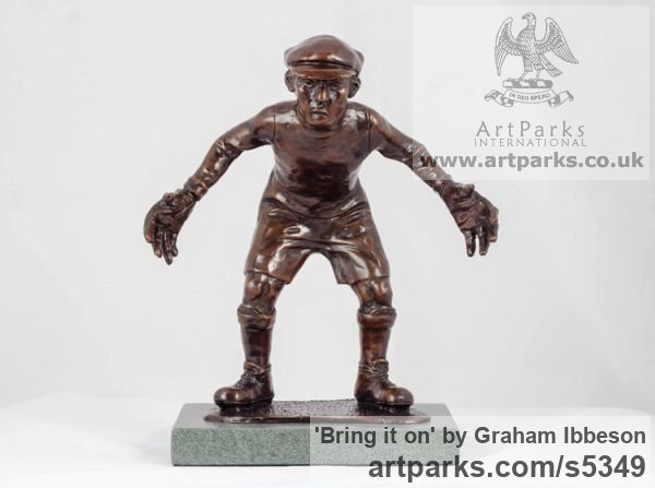 Bronze Children Child Babies Infants Toddlers Kids sculpture statuettes figurines sculpture by sculptor Graham Ibbeson titled: 'Bring it on (Bronze Boy Playing Football Goalkeeper)'