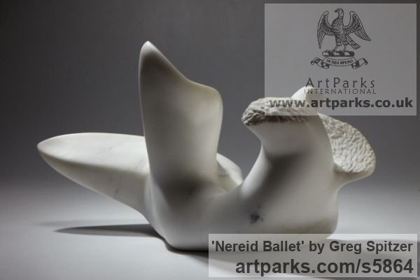 Marble Modern Abstract Contemporary Avant Garde Sculptures or Statues or statuettes or statuary sculpture by sculptor Greg Spitzer titled: 'Nereid Ballet (Small Contemporary abstract stone Carving sculpture)' - Artwork View 2